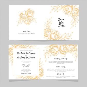Szablon zaproszenia złote wesele kwiatowy