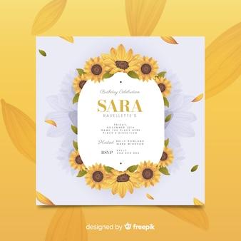 Szablon zaproszenia żółty kwiatowy urodziny