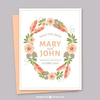 Szablon zaproszenie na ślub z kolorową roślinnością