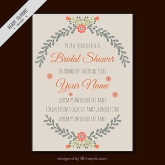 Szablon zaproszenie na wesele prysznicem z pięknych kwiatów