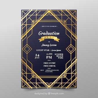 Szablon zaproszenie ukończenia szkoły ze złotym stylu