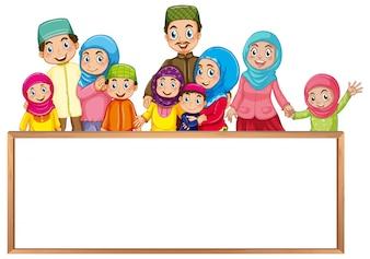 Szablon zarządu z muzułmańskiej rodziny w kolorowe ubrania