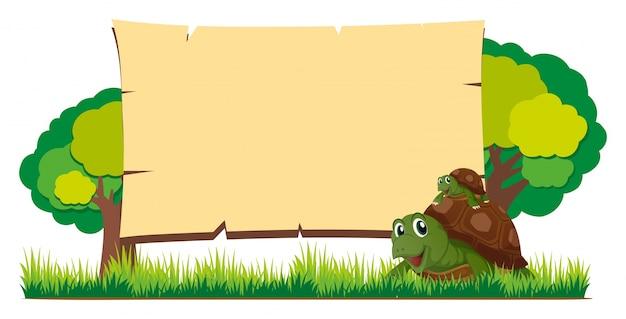 Szablon zarządu z żółwiami w ogrodzie
