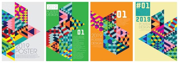 Szablon zdarzenia plakat z kolorowe diagonal
