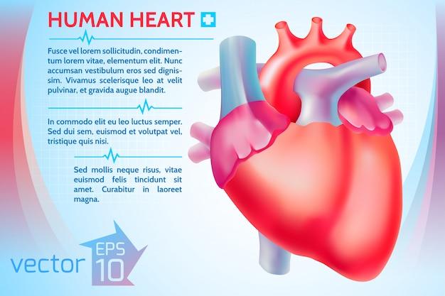 Szablon zdrowej medycyny z tekstem i kolorowym ludzkim sercem na lekkiej ilustracji