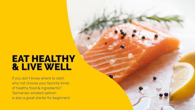 Szablon zdrowej żywności z prezentacją stylu życia świeżego łososia w abstrakcyjnym projekcie memphis
