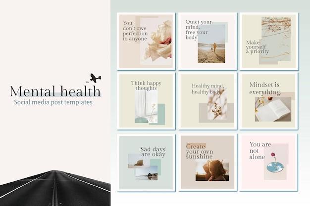 Szablon zdrowia psychicznego wektor zestaw cytat na post w mediach społecznościowych