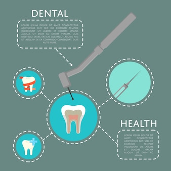 Szablon zdrowia zębów z wiertłem dentysty