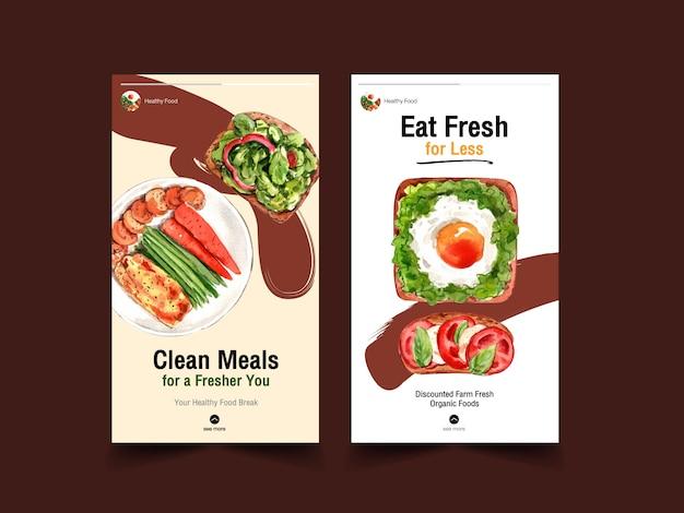 Szablon ze zdrową i ekologiczną żywnością dla mediów społecznościowych, akwarela
