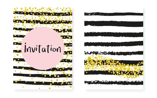 Szablon ze złotej folii. różowy element marki. 14 lutego zestaw gwiezdnego pyłu. czarny nadruk. brokatowy wzór w paski. różana cząsteczka premium. złota karta polki. szablon złotej folii w paski