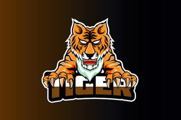 Szablon zespołu logo e-sport głowy tygrysa