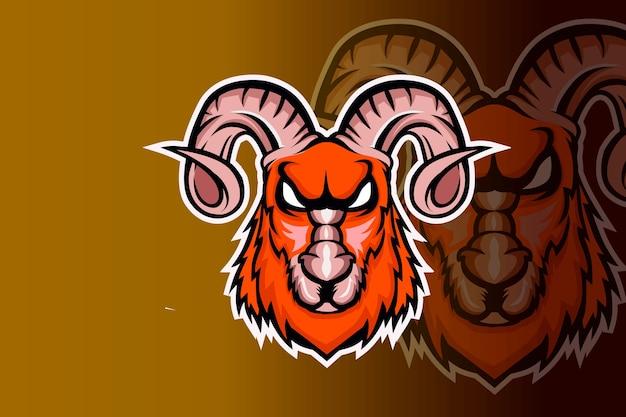 Szablon zespołu logo e-sport wściekły maskotka głowa