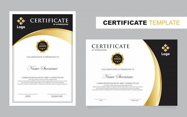 Szablon zestawu certyfikatów, pionowy i poziomy
