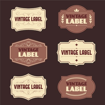 Szablon zestawu etykiet vintage stylu papieru