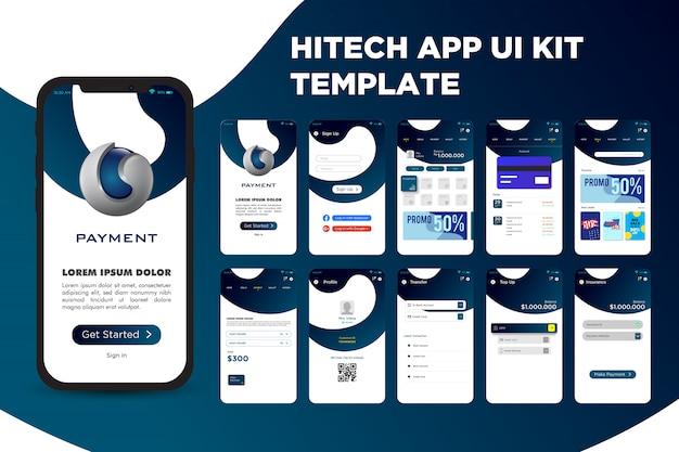 Szablon zestawu high tech app ui kit