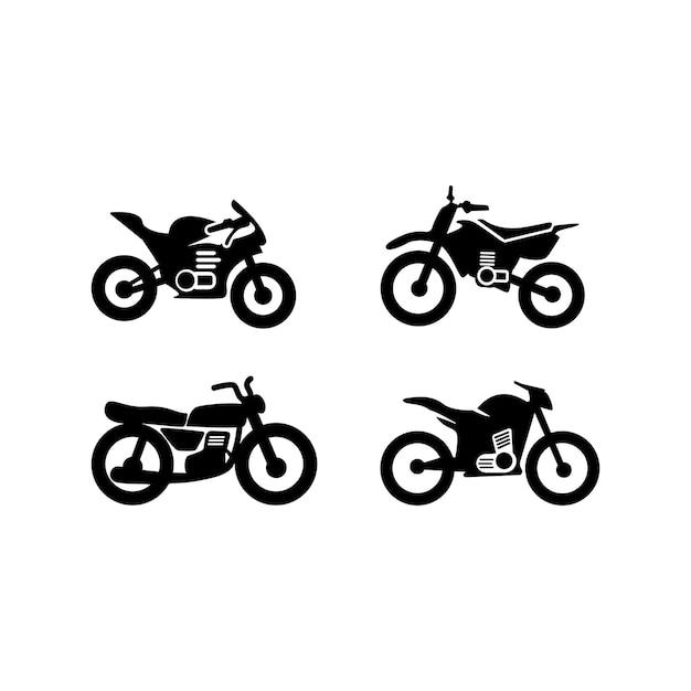 Szablon zestawu ikon motocykla na białym tle