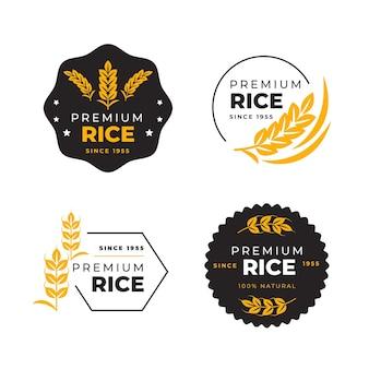 Szablon zestawu logo ryżu