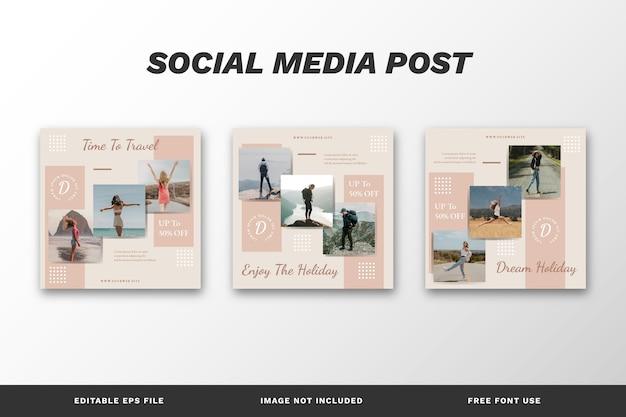 Szablon zestawu postów w mediach społecznościowych podróży