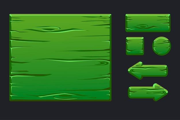 Szablon zielone drewniane menu z graficznym interfejsem użytkownika i przyciskami