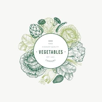 Szablon zielone warzywa. ręcznie rysowane ilustracja jedzenie.