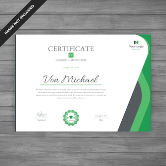 Szablon zielonego certyfikatu