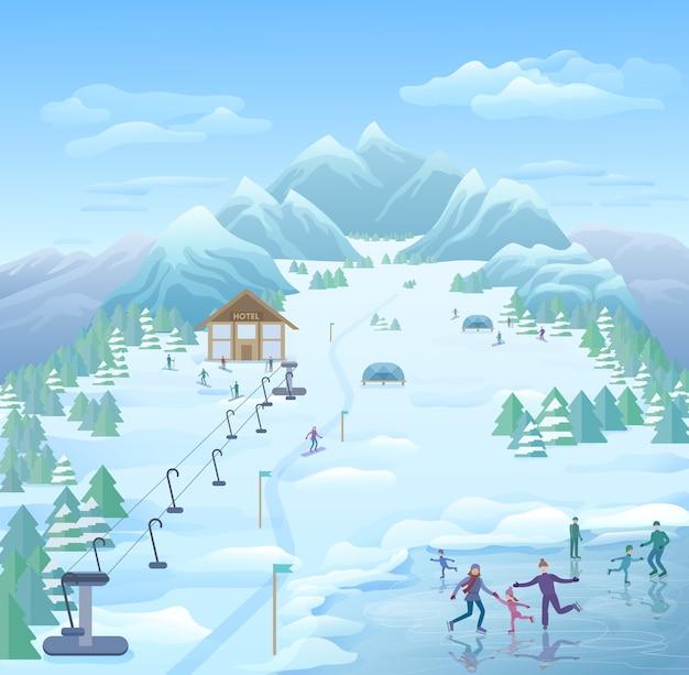 Szablon zimowego parku rekreacyjnego
