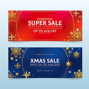 Szablon złote banery świąteczne sprzedaż