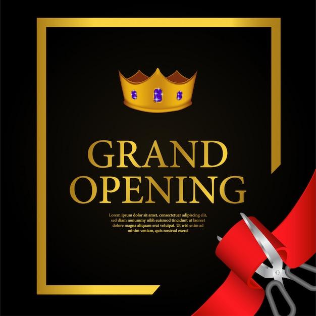 Szablon złotej korony grand otwarcia