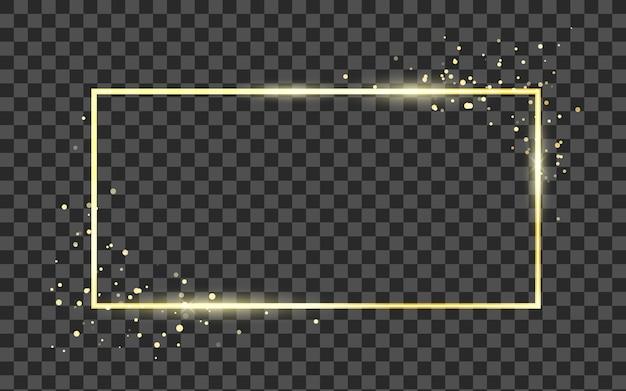 Szablon złotej ramki z efektem brokatu na baner, plakat lub pocztówkę. złoty kwadratowy kształt ramki z miejscem na tekst. na przezroczystym tle