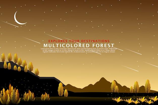 Szablon złoty krajobraz lasu