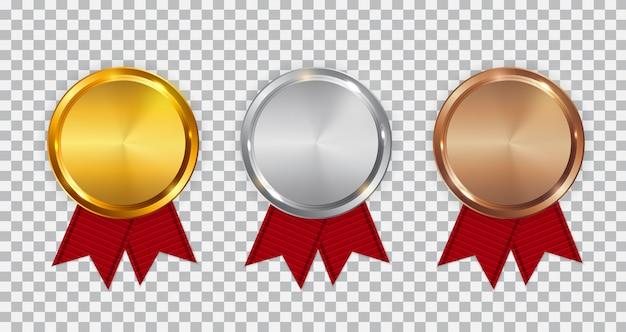 Szablon złoty, srebrny i brązowy medal mistrza z czerwoną wstążką.
