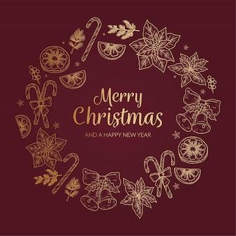 Szablon złoty wieniec bożonarodzeniowy