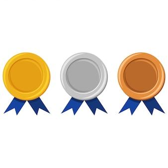 Szablon złotych, srebrnych i brązowych medali z niebieską wstążką. nagrody dla zwycięzców mistrzostw c6. ilustracja kreskówka mieszkanie na białym tle.