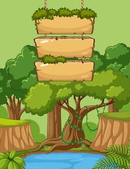 Szablon znak deska drewniana z dużymi drzewami