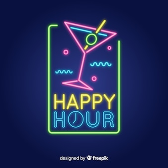 Szablon znak happy hour neon