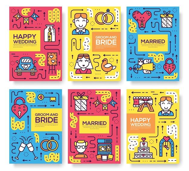 Szablon znak małżeństwa flyear, czasopisma, plakat, książka, banery. zarys szczęśliwego zaproszenia na czas.