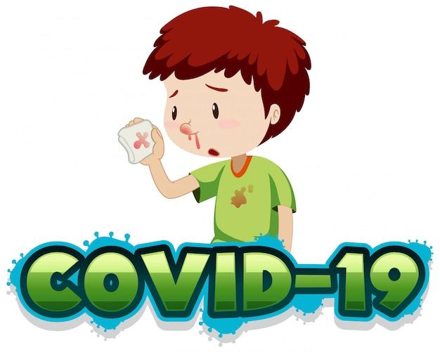 Szablon znaku covid 19 z chłopcem i zakrwawionym nosem
