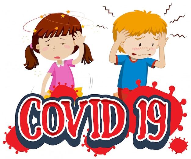 Szablon znaku covid 19 z dwójką chorych dzieci