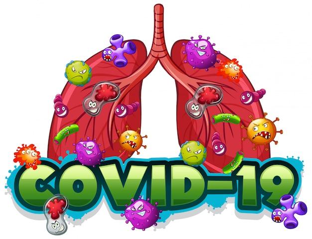 Szablon znaku covid19 z ludzkimi płucami pełnymi wirusów