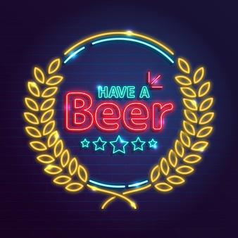 Szablon znaku pubu z piwem neonowym