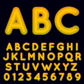 Szablon żółty alfabet gradientu