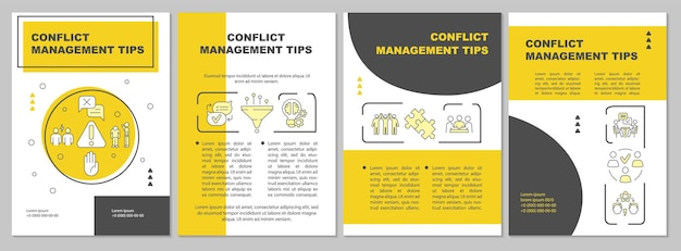Szablon żółty broszura wskazówki dotyczące zarządzania konfliktami. relacje międzyludzkie. ulotka, broszura, druk ulotek, projekt okładki z liniowymi ikonami. układy wektorowe do prezentacji, raportów rocznych, stron ogłoszeniowych