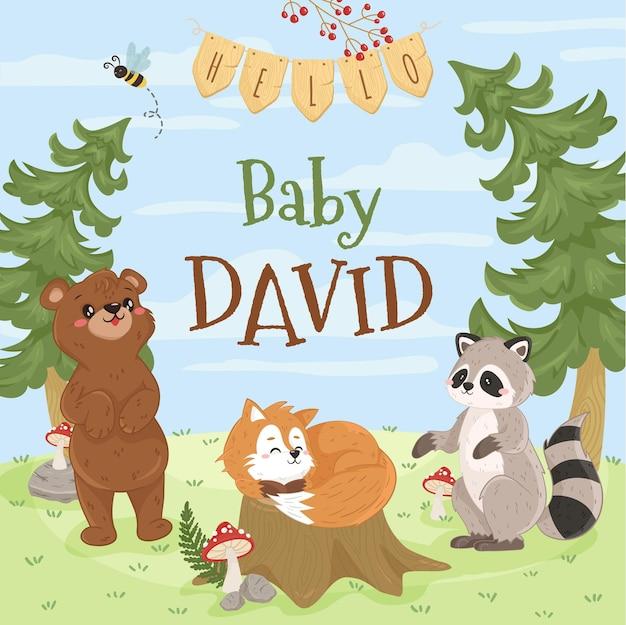 Szablon zwierząt leśnych z niedźwiedziem szopem i lisem na okładkę książki na baby shower zaproszenia woodland