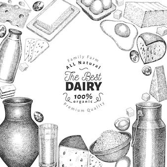 Szablon żywności farmy. ręcznie rysowane ilustracja nabiał. grawerowane różne produkty mleczne i jajka. tło vintage żywności.