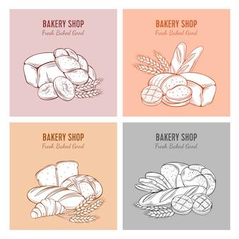 Szablon żywności s chlebem