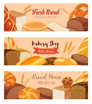 Szablon żywności z produktami chlebowymi
