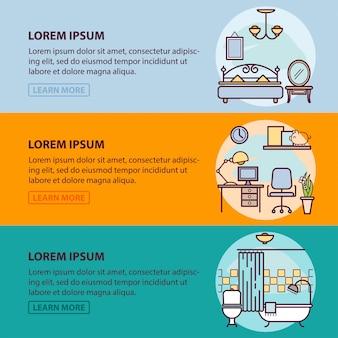 Szablonu baneru internetowego z ikonami konspektu projektowania wnętrz i sztuki, prace wykończeniowe w mieszkaniu w domu. szablon ilustracji dla infografiki lub strony internetowej