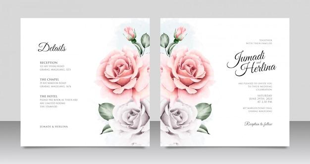 Szablony akwarela piękny ślub kwiatowy zaproszenia