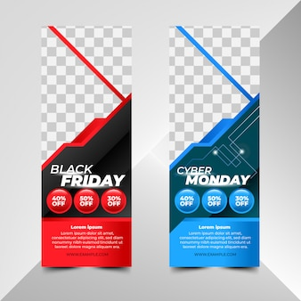 Szablony banerów black friday i cyber monday monday sale