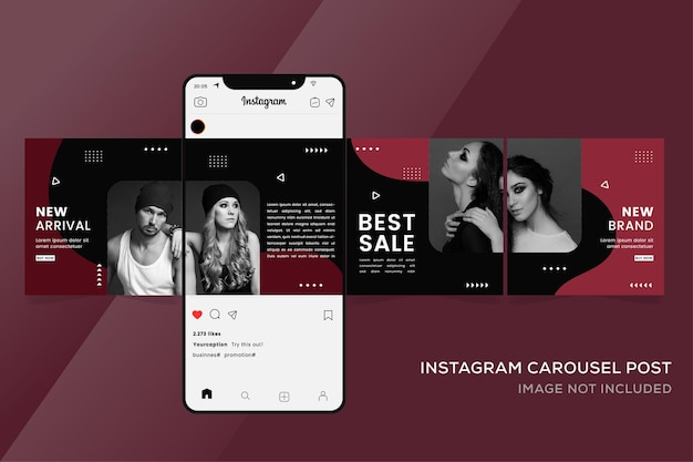 Szablony banerów karuzeli na instagramie dla premium sprzedaży mody